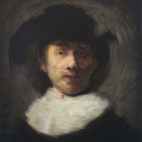 Self Portrait with a Wide Brimmed Hat (after Rembrandt) By Will Teather