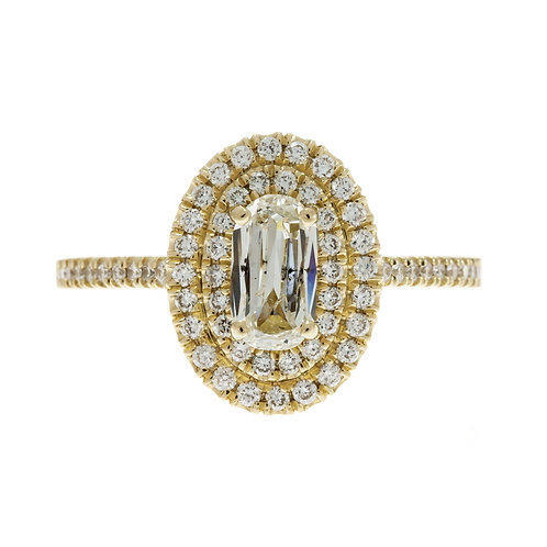 Modified Oval Double Halo Engagement Ring