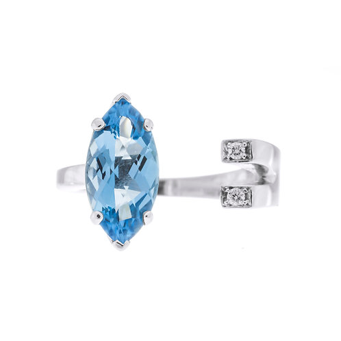 Marquise Blue Topaz and Diamond