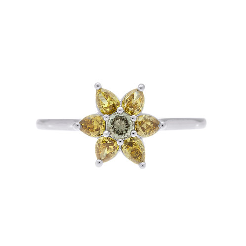 Fancy Colored Diamond Flower Ring