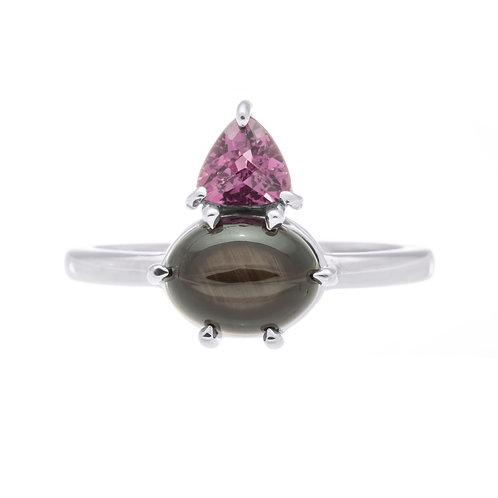 Black and Purple Garnet Ring