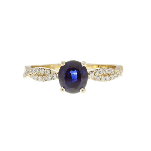 Oval Sapphire Twist Engagement Ring