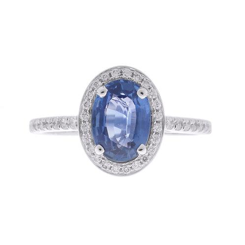 Blue-Purple Sapphire Halo Enagement Ring