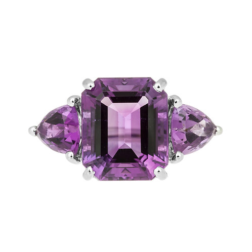 Amethyst Three Stone Ring