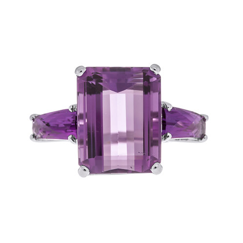 Emerald Cut Amethyst Three Stone