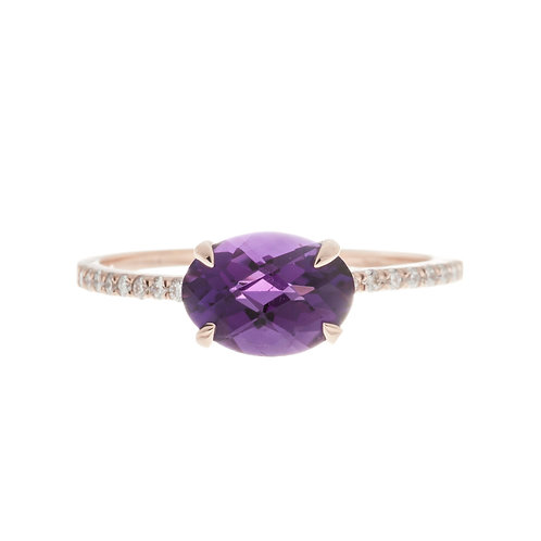 Amethyst and Diamond Solitaire