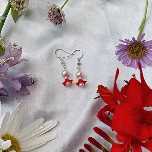 Red Petal Pearls Earrings