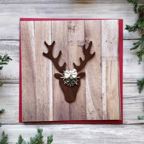 "Reindeer & Holly, 6""x6"", envelope included"
