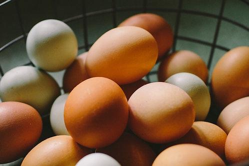12 BROWN free range eggs.