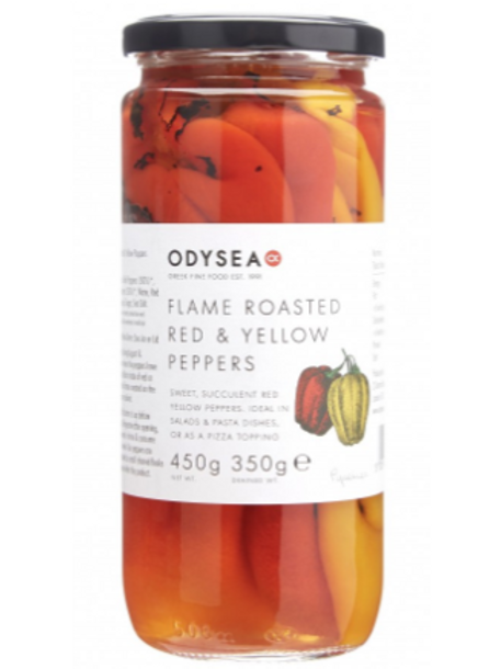 Odysea Flame Roasted Red & Yellow Peppers 450g