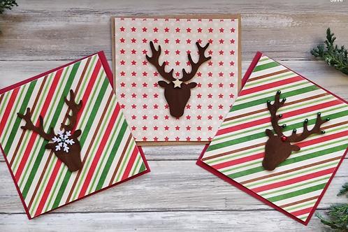 """Stars & Stripes Reindeer set of 3 cards, 6""""x6"""", envelope included"""