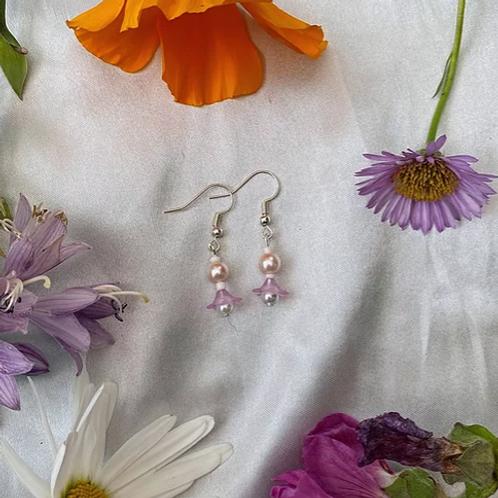 Lilac Petal Pearls Earrings