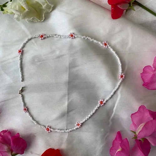 Japanese Cherry Blossom Beaded Necklace