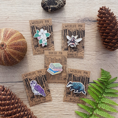 Wooden Pin Badges (5 designs available)