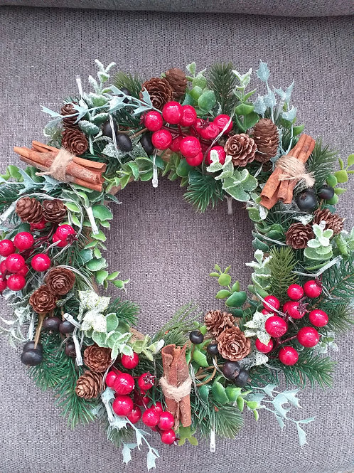 Reusable Artificial Wreath with Lights