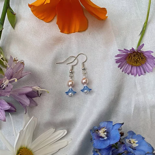 Blue Petal Pearls Earrings