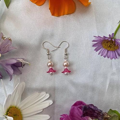 Pink Petal Pearls Earrings