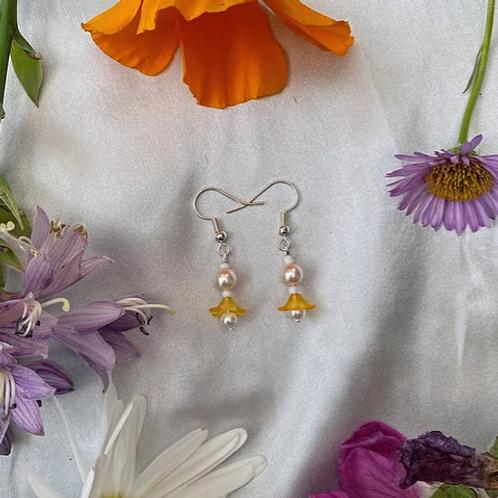 Orange Petal Pearls Earrings
