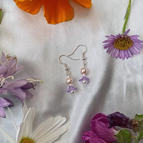 Purple Petal Pearls Earrings