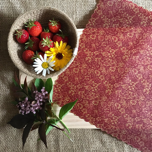 Waxed Wrap - Red Vintage Floral