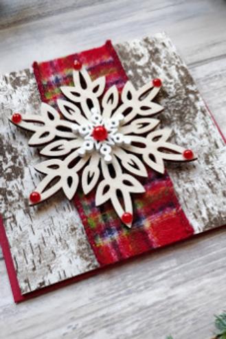 "Birch, Tartan & Wood Snowflake, 4""x4"", envelope included"
