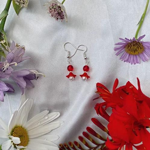 Cherry-Red Petal Pearls Earrings