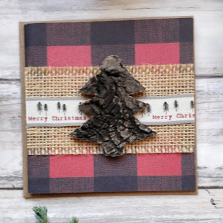 "Burlap & Pine Christmas 1, 4""x4"", envelope included"