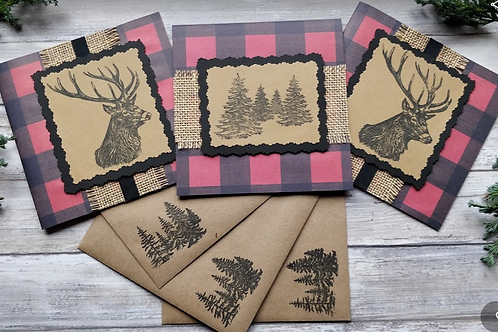 "Woodland Stags & Pines set of 3 cards, 6""x6"", envelope included"