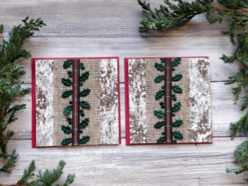 """Birch & Holly set of 2 cards, 4""""x4"""", envelope included"""