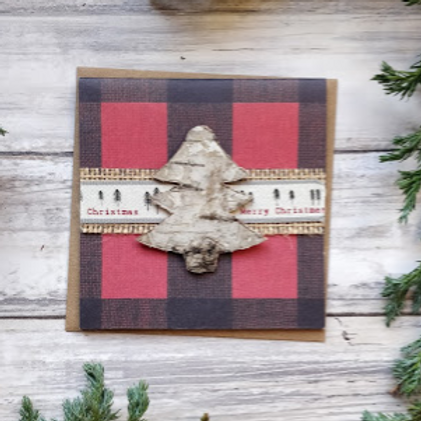"Burlap & Pine Christmas 2, 4""x4"", envelope included"