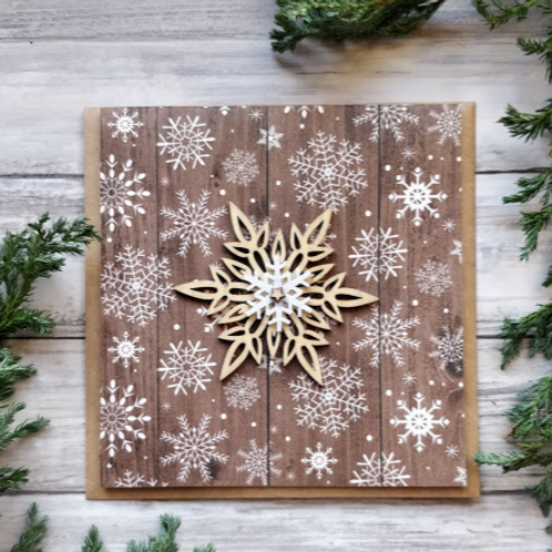 """Rustic Snowflakes, 6""""x6"""", envelope included"""