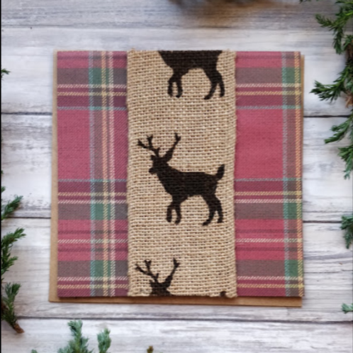 """Tartan Stags, 6""""x6"""", envelope included"""