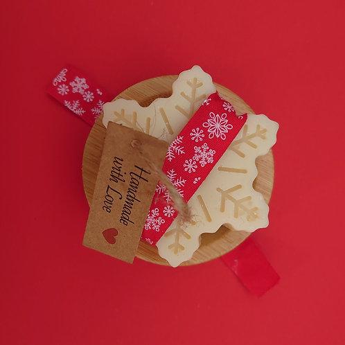 Seasonal Snowflake Soap and Bamboo Dish Gift Set
