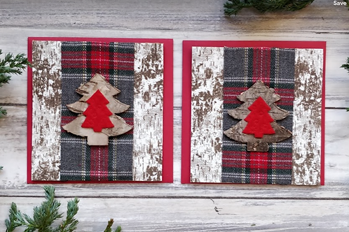 "Tartan Pines set of 2 cards, 4""x4"", envelope included"