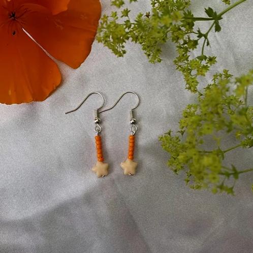 Orange Shooting Stars Earrings