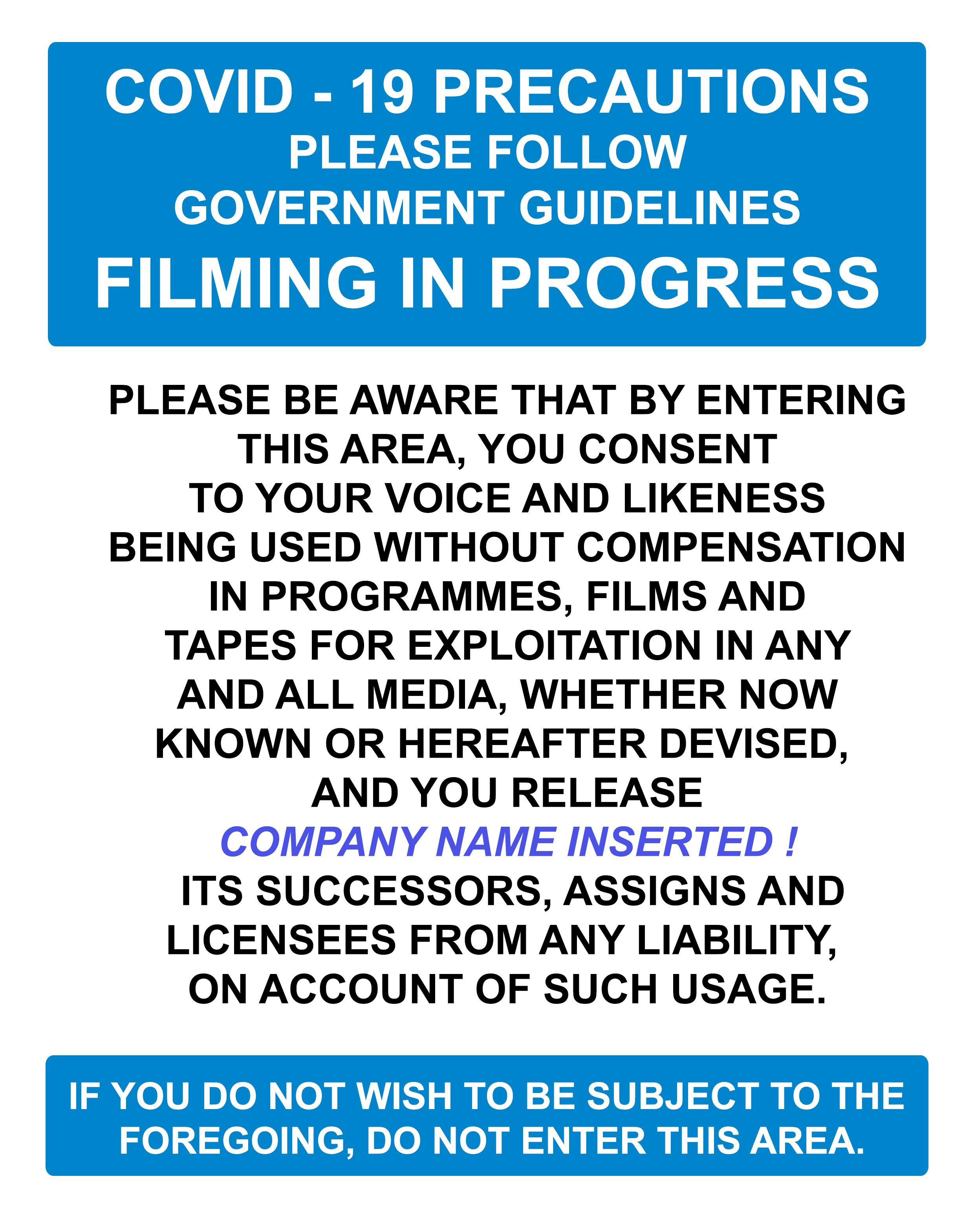 A1 COVID PRECAUTIONS FILMING  NOTICE
