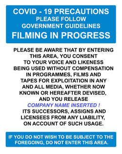 A1 COVID PRECAUTIONS FILMING  NOTICE