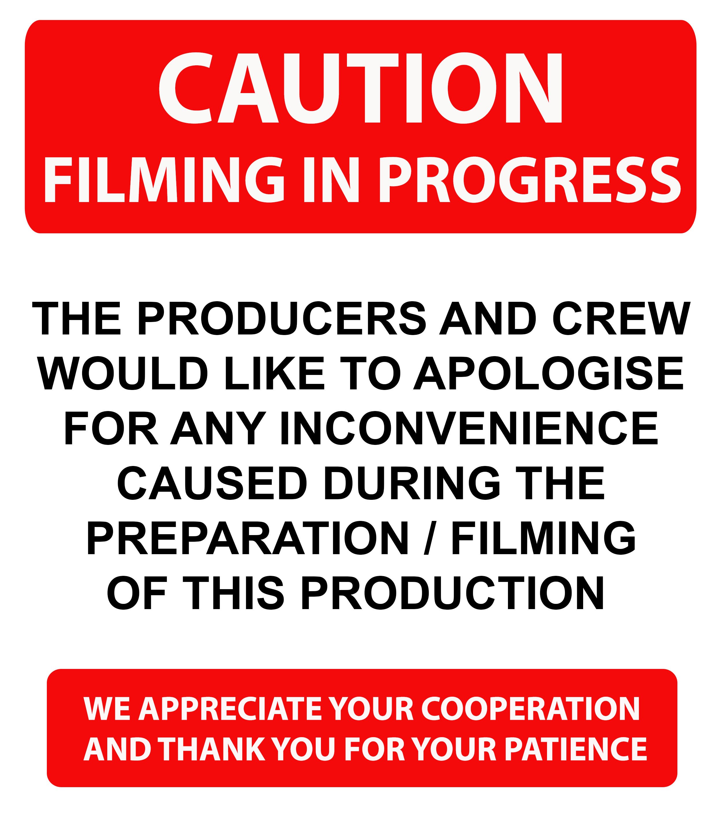 A1 CAUTION FILMING GENERIC