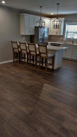 Open-concept kitchen/living area