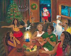 Mele Kalikimaka!  Happy Hawaiian Christmas! A Hawaiian family gathers around a table with music and togetherness to light up the season.  Add joy to the season with this Hawaiian Themed Art.