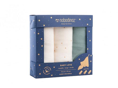 Boîte de 3 langes Baby Love • eden green - Liste Sabbatini - Amoroso
