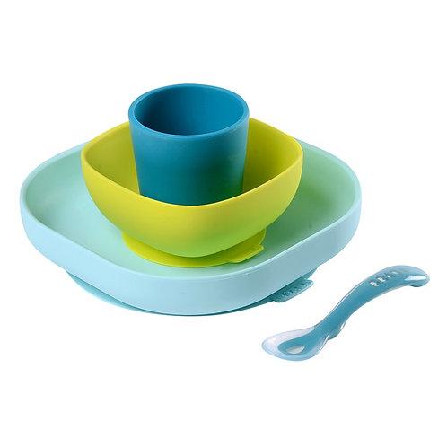 Set vaisselle silicone 4 pièces Bleu