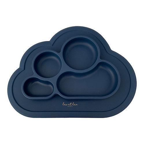 Assiette en silicone à compartiments Leo & Lea - Bleu nuit