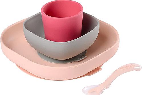 Set vaisselle silicone 4 pièces rose