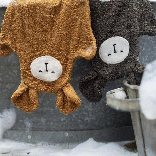 Gant de toilette marionnette Ours - Set de 3 Beige - Fabelab
