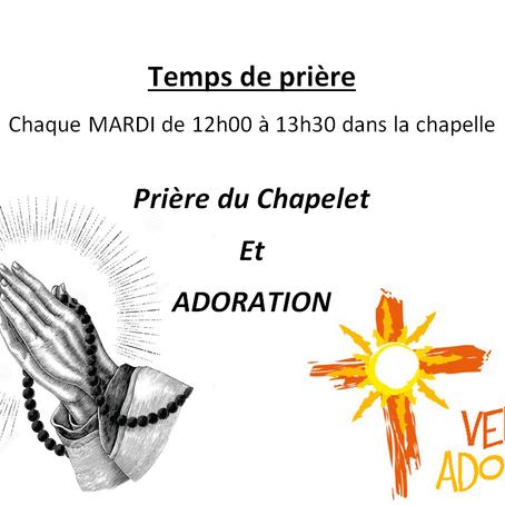 Adoration le 11 et 25 Mai 2021 dans la Chapelle