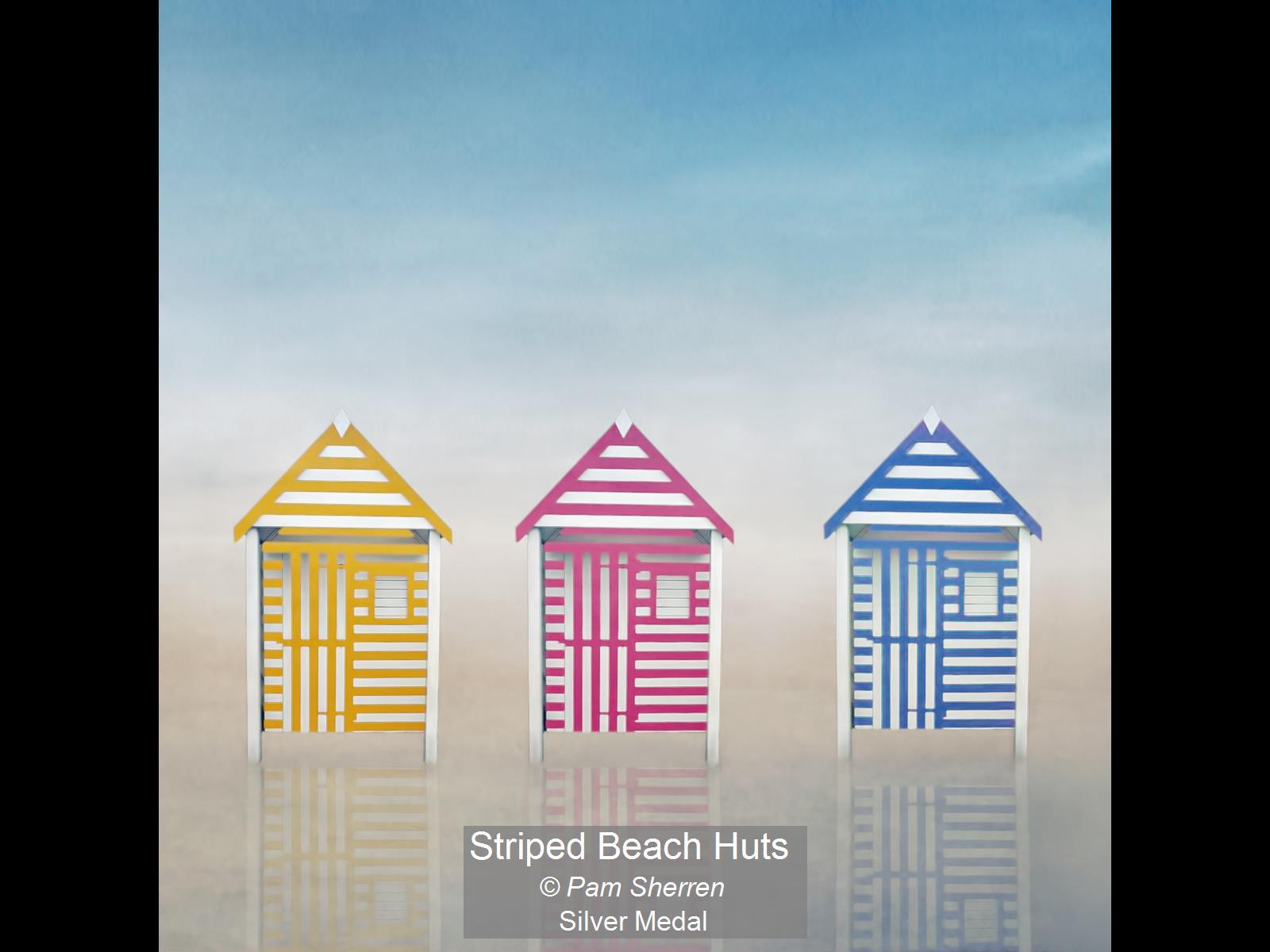 Striped Beach Huts_Pam Sherren_Silver