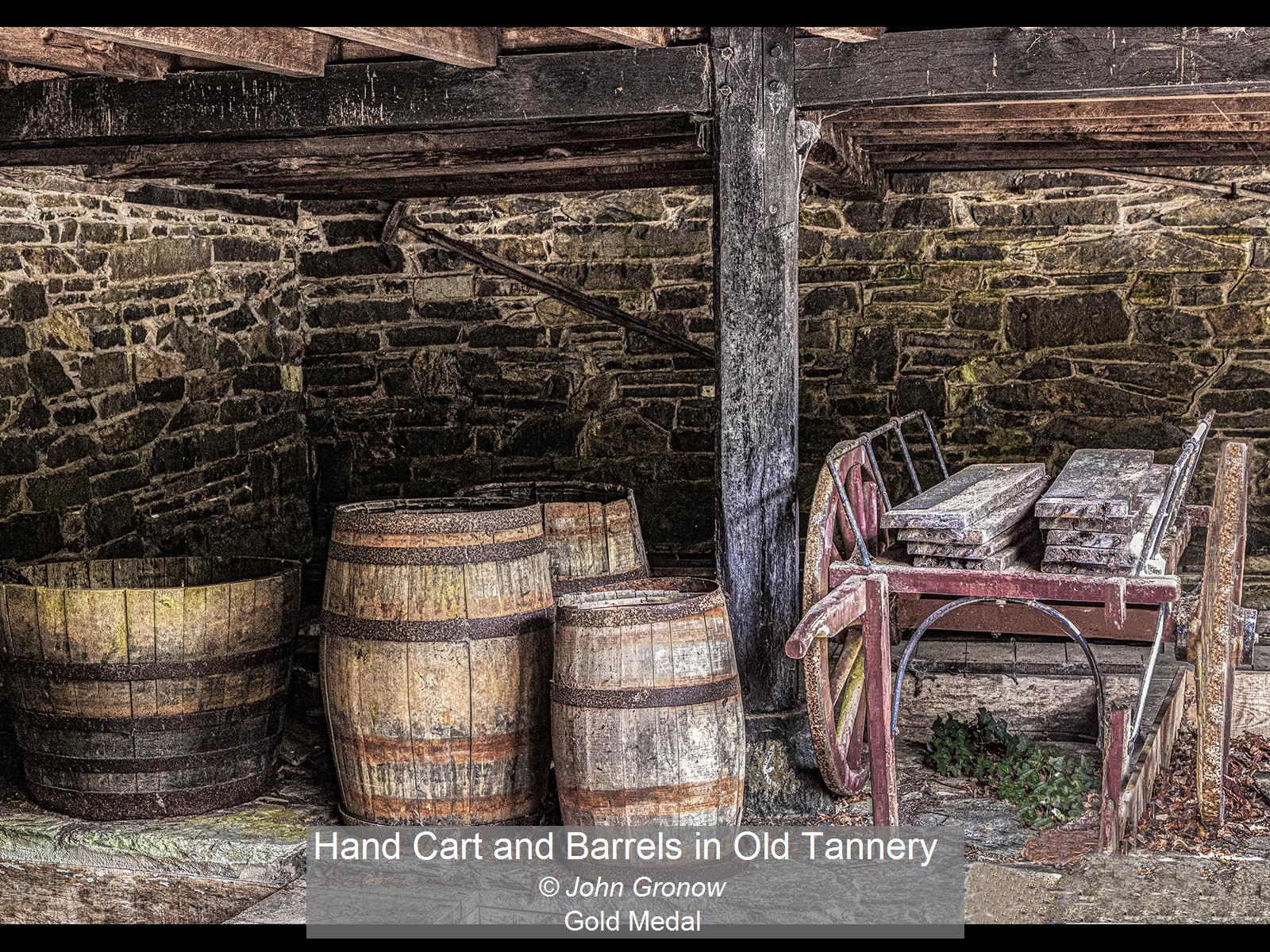 Hand Cart and Barrels in Old Tannery_Joh