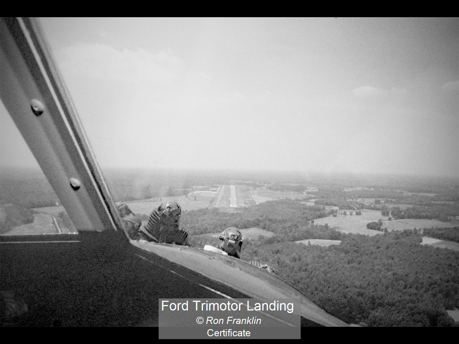Ford Trimotor Landing_Ron Franklin_Cert.