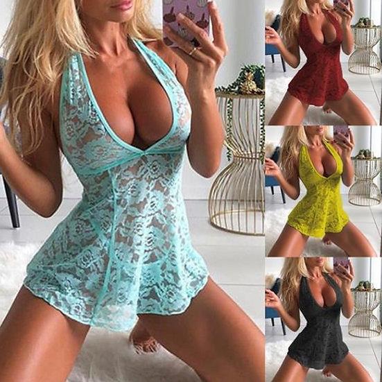 Sexy Nightdress V-Neck Sleeveless Sleepwear Solid Women Lace Nighty Women Summer